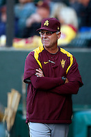 Arizona State Sun Devils associate head coach Ken Knutson #57 during a game against the USC Trojans at Dedeaux Field on April 12, 2013 in Los Angeles, California. USC defeated Arizona State, 5-0. (Larry Goren/Four Seam Images)