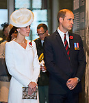 30.07.2017, Ypres; Belgium: DUKE AND DUCHESS OF CAMBRIDGE, QUEEN MATHILDE AND KING PHILIPPE OF BELGIUM<br />attended the playing of the&nbsp;Last Post ceremony at the Menin Gate in Ypres, Belgium, to mark the centenary anniversary of the beginning of the Battle of Passchendaele, the Third Battle of Ypres.&nbsp;<br /> The battle in Flanders began on 31 July 1971 and was a major engagement in the First World War, claiming the lives of around 275,000 British and Commonwealth Military personnel and around 200,000 German lives.<br /> A Sunset Ceremony took place at the Cloth Hall, Ypres after the ceremony at Menin Gate. Light was projected onto the Cloth Hall in the Market Square providing the backdrop to an evening of storytelling and music about the experience of soldiers during four years of war on the Ypres Salient.<br /> The Menin Gate is one of four memorials to the missing which covers the area known as the Ypres Salient. The site of the Menin Gate was chosen because of the hundreds of thousands of men who passed through it on their way to the battlefields. It bears the names of more than 54,000 casualties from the forces of Australia, Canada, India, South Africa and United Kingdom who died in the Salient whose graves are not known.&nbsp;&nbsp;<br />Mandatory Credit Photo: &copy;MoD/NEWSPIX INTERNATIONAL<br /><br />IMMEDIATE CONFIRMATION OF USAGE REQUIRED:<br />Newspix International, 31 Chinnery Hill, Bishop's Stortford, ENGLAND CM23 3PS<br />Tel:+441279 324672  ; Fax: +441279656877<br />Mobile:  07775681153<br />e-mail: info@newspixinternational.co.uk<br />*All fees payable to Newspix International*