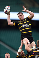 Ben Hilton of Cornwall wins the ball at a lineout. Bill Beaumont County Championship Division 1 Final between Cheshire and Cornwall on June 2, 2019 at Twickenham Stadium in London, England. Photo by: Patrick Khachfe / Onside Images