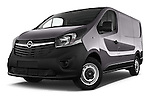Low Aggressive Front Three Quarter View of 2015 Opel Vivaro Edition 4 Door Cargo Van 2WD Stock Photo