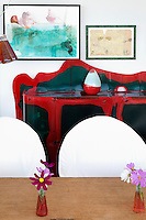 black and red sideboard