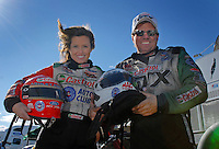 Portrait of NHRA Funny Car driver Ashley Force and her father John Force during preseason testing at The Strip at Las Vegas Motor Speedway in Las Vegas, NV. Mandatory Credit: Mark J. Rebilas