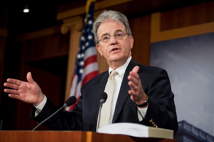 UNITED STATES - JULY 18:  Sen. Tom Coburn, R-Okla., conducts a news conference in the Capitol to unveil his $9 trillion deficit reduction plan. (Photo By Tom Williams/Roll Call)