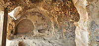 Picture &amp; image of the Theatron vaulted ceiling, Uplistsikhe (Lords Fortress) troglodyte cave city, near Gori, Shida Kartli, Georgia. UNESCO World Heritage Tentative List<br /> <br /> Inhabited from the early Iron age to the late middle ages Uplistsikhe cave city eas, during the Roman &amp; Hellenistic period, home to around 20,000 people.