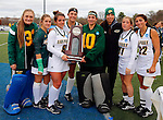 EASTON, MA - NOVEMBER 20:  Stephanie Mocerino (9) of LIU Post and Ericka Parks (10) of LIU Post hold the runner up trophy after the NCAA Division II Field Hockey Championship at WB Mason Stadium on November 20, 2016 in Easton, Massachusetts.  Shippensburg University defeated LIU Post 2-1 for the national title. (Photo by Winslow Townson/NCAA Photos via Getty Images)