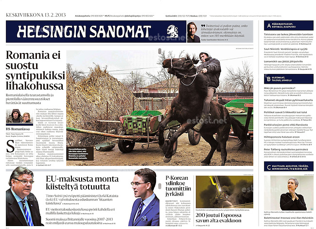 Helsingin Sanomat (Finnish daily) on horse breeding and slaughter in Romania, 2013.02.13.<br />