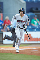 Tyler Wade (9) of the Scranton/Wilkes-Barre RailRiders carries his bat as he starts down the first base line during the game against the Gwinnett Stripers at Coolray Field on August 16, 2019 in Lawrenceville, Georgia. The Stripers defeated the RailRiders 5-2. (Brian Westerholt/Four Seam Images)