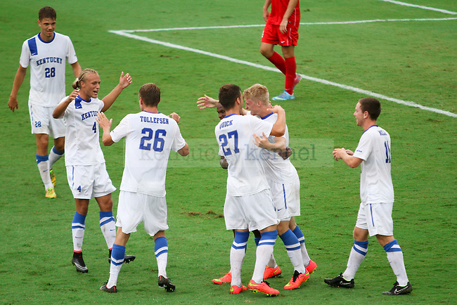 Kentucky sophomore Ryan Creel celebrates with his teammates after scoring during the University of Kentucky vs. Belmont men's soccer game at the Wendell and Vickie Bell Soccer Complex in Lexington, Ky., on Sunday, August 31, 2014. Photo by Jonathan Krueger | Staff