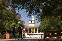 The Johnson Student Center (JSC) tower as seen from Occidental College's Academic Quad on Feb. 27, 2019.<br />