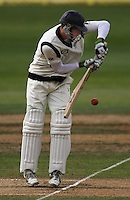 NZ's Martin Guptill plays a defensive shot during day four of the 3rd test between the New Zealand Black Caps and India at Allied Prime Basin Reserve, Wellington, New Zealand on Monday, 6 April 2009. Photo: Dave Lintott / lintottphoto.co.nz.