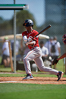 Jalen Greer during the WWBA World Championship at the Roger Dean Complex on October 18, 2018 in Jupiter, Florida.  Jalen Greer is a shortstop from Chicago, Illinois who attends St. Rita of Cascia High School and is committed to Missouri.  (Mike Janes/Four Seam Images)