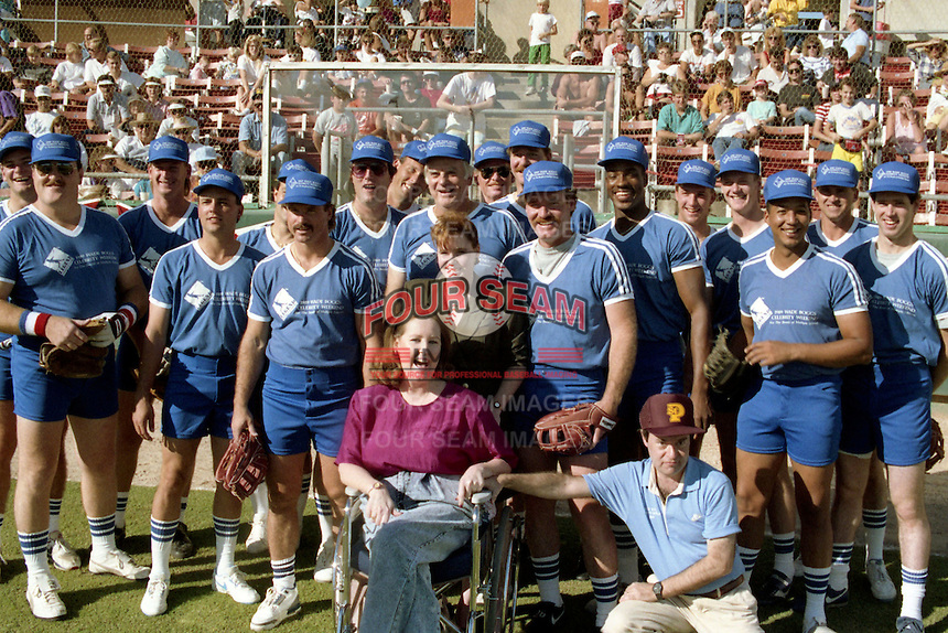 Wade Boggs and other celebrities and major league players during the 1989 Wade Boggs Celebrity Weekend to benefit multiple sclerosis at Al Lang Stadium in St. Petersburg, Florida.  (MJA/Four Seam Images)