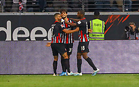 celebrate the goal, Torjubel zum 1:0 Goncalo Paciencia (Eintracht Frankfurt) mit Dejan Joveljic (Eintracht Frankfurt), Almamy Touré (Eintracht Frankfurt) - 01.08.2019: Eintracht Frankfurt vs. FC Flora Tallinn, UEFA Europa League, Qualifikation 2. Runde, Commerzbank Arena<br /> DISCLAIMER: DFL regulations prohibit any use of photographs as image sequences and/or quasi-video.