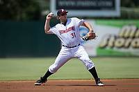 Kannapolis Intimidators third baseman Jake Burger (31) warms up before the start of the game against the Hagerstown Suns at Kannapolis Intimidators Stadium on July 9, 2017 in Kannapolis, North Carolina.  The Intimidators defeated the Suns 3-2 in game one of a double-header.  (Brian Westerholt/Four Seam Images)