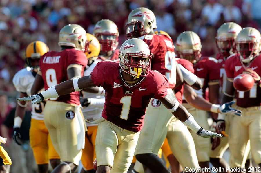 TALLAHASSEE, FL 9/1/12-FSU-MURRAY090112CH-Florida State's Tyler Hunter celebrates making a tackle on a kick off return against Murray State during first half action Saturday at Doak Campbell Stadium in Tallahassee. .COLIN HACKLEY PHOTO