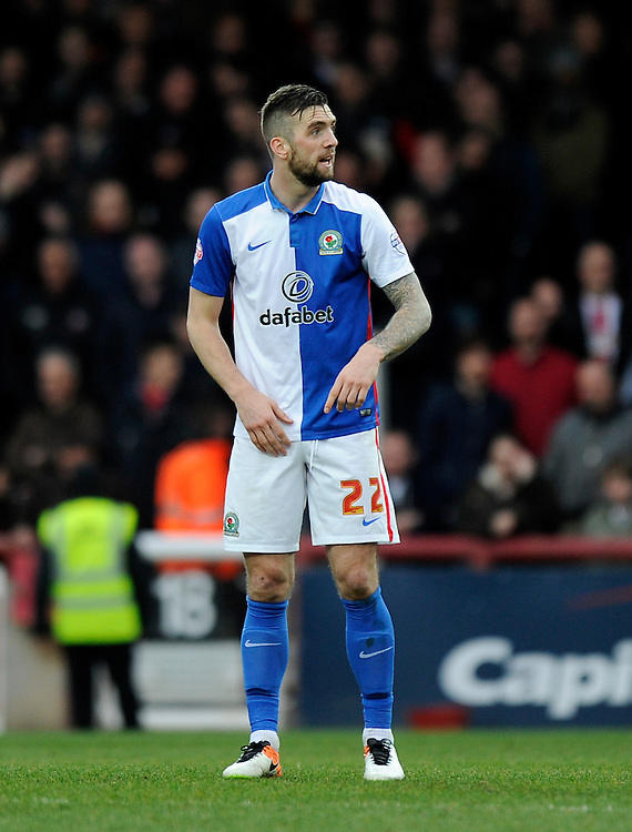 Blackburn Rovers' Shane Duffy in action during todays match  <br /> <br /> Photographer Ashley Western/CameraSport<br /> <br /> Football - The Football League Sky Bet Championship - Brentford v Blackburn Rovers - Saturday 19th March 2016 - Griffin Park - London <br /> <br /> &copy; CameraSport - 43 Linden Ave. Countesthorpe. Leicester. England. LE8 5PG - Tel: +44 (0) 116 277 4147 - admin@camerasport.com - www.camerasport.com