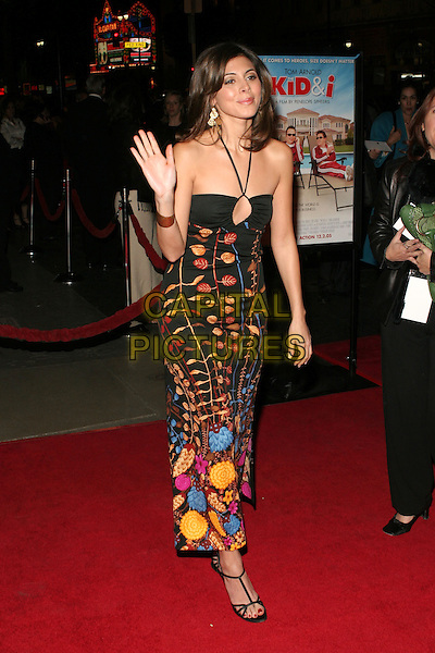 "JAMIE-LYNN DISCALA.""The Kid & I"" Los Angeles Premiere - Arrivals held at Grauman's Chinese Theatre.  Hollywood, California..USA, United States..28th November 2005.Ref:ADM/ZL.full length  black patterned embroidered halterneck dress waving hand gesture pendant gold bangle.www.capitalpictures.com.sales@capitalpictures.com.© Capital Pictures.."