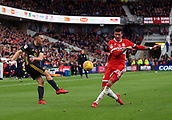 5th November 2017, Riverside Stadium, Middlesbrough, England; EFL Championship football, Middlesbrough versus Sunderland; Gastón Ramírez of Middlesbrough blocks George Honeyman of Sunderland cross in the second half of the 1-0 win