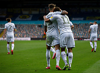 Leeds United's Tyler Roberts celebrates scoring his side's third goal with Ben White<br /> <br /> Photographer Alex Dodd/CameraSport<br /> <br /> The EFL Sky Bet Championship - Leeds United v Charlton Athletic - Wednesday July 22nd 2020 - Elland Road - Leeds <br /> <br /> World Copyright © 2020 CameraSport. All rights reserved. 43 Linden Ave. Countesthorpe. Leicester. England. LE8 5PG - Tel: +44 (0) 116 277 4147 - admin@camerasport.com - www.camerasport.com