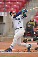 Cedar Rapids Kernels first baseman Ben Rodriguez (23) swings at a pitch against the Quad Cities River Bandits at Veterans Memorial Stadium on April 15, 2019 in Cedar Rapids, Iowa.  The River Bandits won 7-2.  (Dennis Hubbard/Four Seam Images)