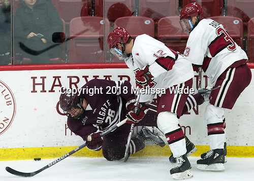Hunter Racine (Colgate - 28), John Marino (Harvard - 12), Jack Badini (Harvard - 33) - The visiting Colgate University Raiders shut out the Harvard University Crimson for a 2-0 win on Saturday, January 27, 2018, at Bright-Landry Hockey Center in Boston, Massachusetts.The visiting Colgate University Raiders shut out the Harvard University Crimson for a 2-0 win on Saturday, January 27, 2018, at Bright-Landry Hockey Center in Boston, Massachusetts.