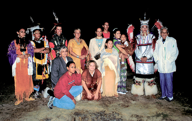 A group of Nanticoke tribal members dressed in traditional regalia attend a small pow wow at the Nanticoke Indian Museum in Millsboro Delaware