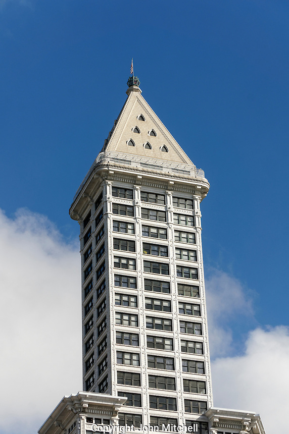 The Smith Tower skyscraper on Pioneer Square in Seattle, Washington, USA