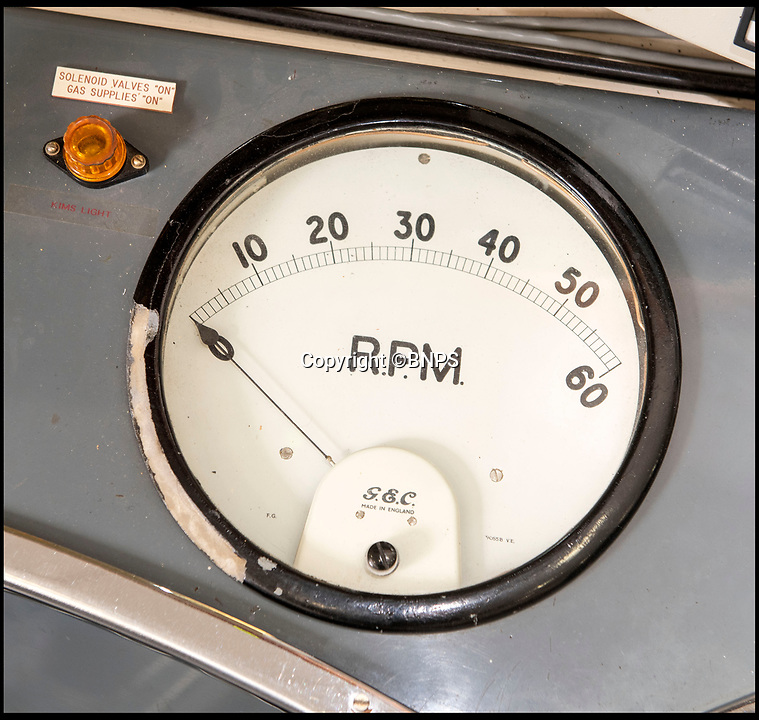 BNPS.co.uk (01202 558833)<br /> Pic: PhilYeomans/BNPS<br /> <br /> The control room Rev-meter.<br /> <br /> Sci-fi 'Centrifuge' to open its doors to the public after 64 years...<br /> <br /> A remarkable Cold War relic which has put thousands of pilots through their G-force paces has made its final spin after six decades. <br /> <br /> The Top Secret building at the former RAE Farnborough test site is now open to the public for guided tours led by the scientists from FAST who used to work there.<br /> <br /> The Farnborough Centrifuge was used to simulate huge 9G forces - nine times more than a human body is designed to absorb - they would encounter while flying fast jets during combat operations.<br /> <br /> The pilot would sit in a small compartment replicating a cockpit at the end of the 60ft rotating arm and be propelled at over 60mph, spinning 30 times a minute.<br /> <br /> A staggering 122,133 tests were performed on it before it was decommissioned in March this year, with a new centrifuge installed at RAF Cranwell.<br /> <br /> It featured on an episode of Top Gear in 2000 when Jeremy Clarkson had a go on it at 3G, leaving him in obvious discomfort. He described the force exerted on him as like 'having an elephant sat on my chest'.<br /> <br /> The centrifuge, which is being displayed for the public for the first time, also appeared in the 1985 comedy film Spies Like Us starring Chevy Chase and Dan Ackroyd.