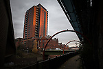 © Joel Goodman - 07973 332324 . 8 December 2013 . GV General View of the River Irwell near to New Bridge Street as there's been a spate of people having to be rescued from the canals around Manchester . Photo credit : Joel Goodman