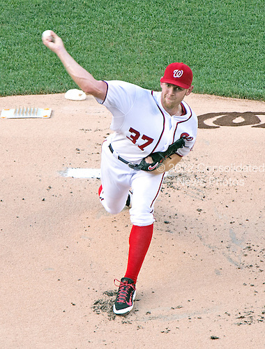 Washington Nationals pitcher Stephen Strasburg (37) works in the first inning against the Colorado Rockies at Nationals Park in Washington, D.C. on Tuesday, July 1, 2014.<br /> Credit: Ron Sachs / CNP