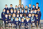 Teacher Marie Cassidy with her junior infants class of 2008 during their first day in St Oliver's National school on Monday.   Copyright Kerry's Eye 2008
