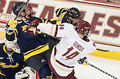 Craig Wyszomirski (Merrimack - 2), Adam Gilmour (BC - 14) - The Boston College Eagles defeated the visiting Merrimack College Warriors 2-1 on Wednesday, January 21, 2015, at Kelley Rink in Conte Forum in Chestnut Hill, Massachusetts.