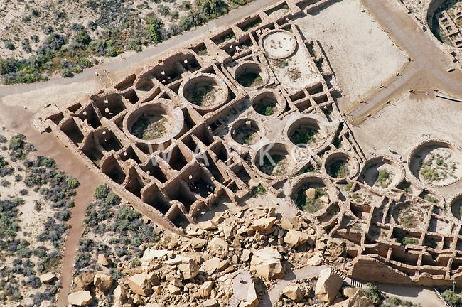 Pueblo Bonito closeup aerial