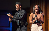 Emcees Edward Jackson '16 and Marielle Peña Rosario '16 joke between acts. Occidental College students perform at the annual Apollo Night talent show, hosted by the Black Student Alliance, in Thorne Hall, Friday, Feb. 21, 2014. 15 acts performed a variety of music and dance. (Photo by Marc Campos, Occidental College Photographer)