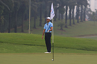 Rafa Cabrera Bello (Europe) chips onto the 4th green during the Saturday Foursomes of the Eurasia Cup at Glenmarie Golf and Country Club on the 13th January 2018.<br /> Picture:  Thos Caffrey / www.golffile.ie