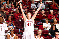 STANFORD, CA - JANUARY 16, 2015--<br /> Stanford&rsquo;s Bonnie Samuelson, celebrates there victory over Arizona at Maple Pavilion.