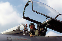 Pilot sitting in Cockpit of US Air Force McDonnell Douglas / Boeing F-15E Strike Eagle - at Abbotsford International Airshow, BC, British Columbia, Canada