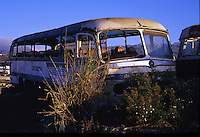 Abandoned old buses, Cabo Blanco, Tenerife, Canary Islands, Spain