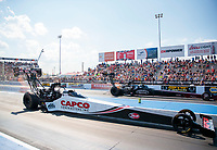 Sep 29, 2019; Madison, IL, USA; NHRA top fuel driver Steve Torrence (near) races alongside Pat Dakin during the Midwest Nationals at World Wide Technology Raceway. Mandatory Credit: Mark J. Rebilas-USA TODAY Sports