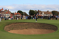Conor Gough (GB&I) on the 16th green during Day 2 Singles at the Walker Cup, Royal Liverpool Golf CLub, Hoylake, Cheshire, England. 08/09/2019.<br /> Picture Thos Caffrey / Golffile.ie<br /> <br /> All photo usage must carry mandatory copyright credit (© Golffile | Thos Caffrey)