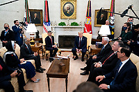 President Donald Trump meets with  Abdullah bin Zayed bin Sultan Al Nahyan, Minister of Foreign Affairs and International Cooperation of the United Arab Emirates in the Oval Office,  Tuesday, Sept. 15,  2020.  (Photo by Doug Mills/The New York Times) <br /> Credit: Doug Mills / Pool via CNPPresident Donald Trump meets with  Abdullah bin Zayed bin Sultan Al Nahyan, Minister of Foreign Affairs and International Cooperation of the United Arab Emirates in the Oval Office of the White House in Washington, DC,  Tuesday, Sept. 15,  2020.  <br /> Credit: Doug Mills / Pool via CNP /MediaPunch