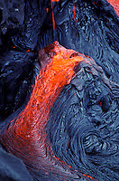 Hot pahoehoe lava flow at Kilauea volcano eruption at Hawaii volcanoes national park
