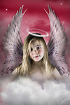 lilttle angel in the clouds with halo