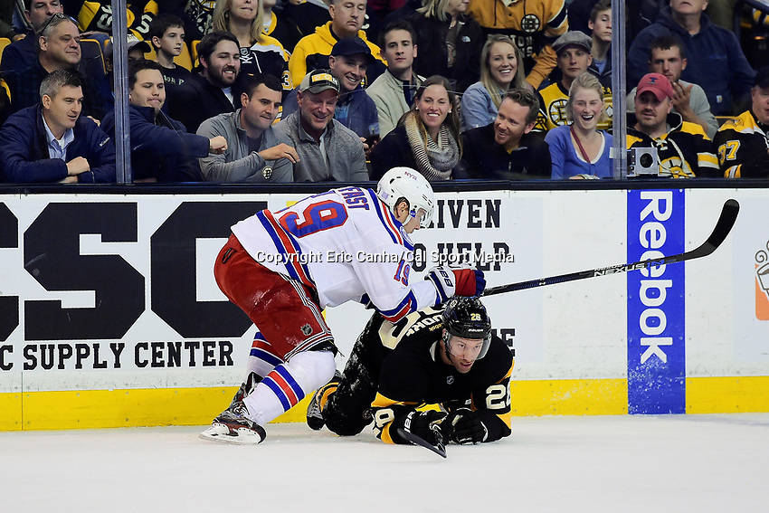 Saturday, November 5, 2016: New York Rangers right wing Jesper Fast (19) checks Boston Bruins center Dominic Moore (28) during the National Hockey League game between the New York Rangers and the Boston Bruins held at TD Garden, in Boston, Mass. Eric Canha/CSM
