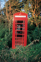 Telephone booth, Somerset England, 6-2002