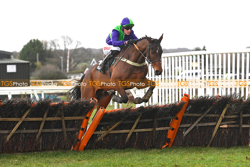 Listronagh Stone ridden by Nick Scholfield clears the last in  The That Friday-Ad Feeling Novices' Hurdle during Horse Racing at Plumpton Racecourse on 10th February 2020