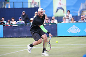 June 15th 2017, Nottingham, England; ATP Aegon Nottingham Open Tennis Tournament day 6;  Sam Groth of Australia picks up a low volley at the net against Brydan Klein of Great Britain