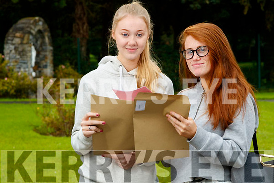Corrina Brazil and Caroline Donnelly (Tralee), Presentation Secondary School, Tralee, who received their Leaving Certificate results on Tuesday morning last.