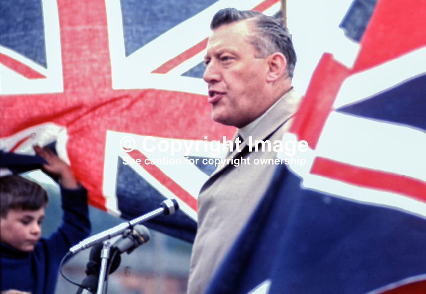 Rev Ian Paisley MP speaking at Independent Orange Order's annual demonstration at Knocknagoney, near Belfast. 1970071110255c, 255/70.<br /> <br /> Copyright Image from Victor Patterson, 54 Dorchester Park, <br /> Belfast, UK, BT9 6RJ<br /> <br /> t1: +44 28 9066 1296 (from Rep of Ireland 048 9066 1296)<br /> t2: +44 28 9002 2446 (from Rep of Ireland 048 9002 2446)<br /> m: +44 7802 353836<br /> <br /> e1: victorpatterson@me.com<br /> e2: victorpatterson@gmail.com<br /> www.victorpatterson.com<br /> <br /> Please see my Terms and Conditions of Use at www.victorpatterson.com. It is IMPORTANT that you familiarise yourself with them.<br /> <br /> Images used on the Internet must be visibly watermarked i.e. &copy; Victor Patterson<br /> within the body of the image and copyright metadata must not be deleted. Images <br /> used on the Internet have a size restriction of 4kbs and will be chargeable at current<br />  NUJ rates unless agreed otherwise.<br /> <br /> This image is only available for the use of the download recipient i.e. television station, newspaper, magazine, book publisher, etc, and must not be passed on to any third <br /> party. It is also downloaded on condition that each and every usage is notified within 7 days to victorpatterson@me.com<br /> <br /> The right of Victor Patterson to be identified as the author is asserted in accordance with The Copyright Designs And Patents Act (1988).