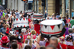 © Joel Goodman - 07973 332324 . 22/06/2014 .  Manchester , UK . Drums being carried away after the parade . The 2014 Manchester Day Parade . Photo credit : Joel Goodman